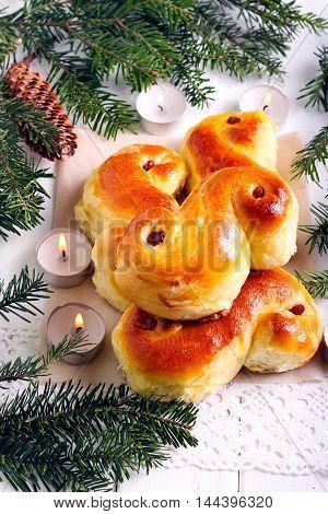 St. Lucia Saffron Buns in Christmas decoration