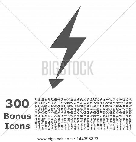 Electric Strike icon with 300 bonus icons. Vector illustration style is flat iconic symbols, gray color, white background.