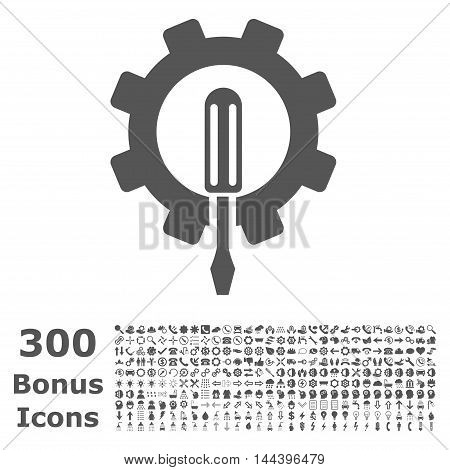 Engineering icon with 300 bonus icons. Vector illustration style is flat iconic symbols, gray color, white background.