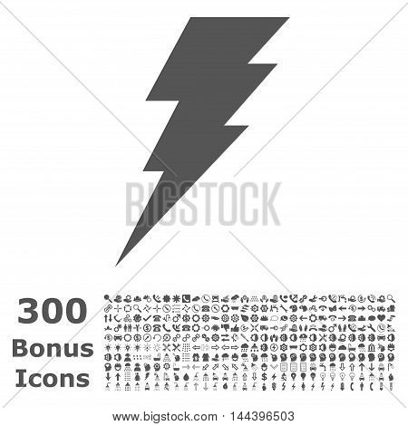 Execute icon with 300 bonus icons. Vector illustration style is flat iconic symbols, gray color, white background.
