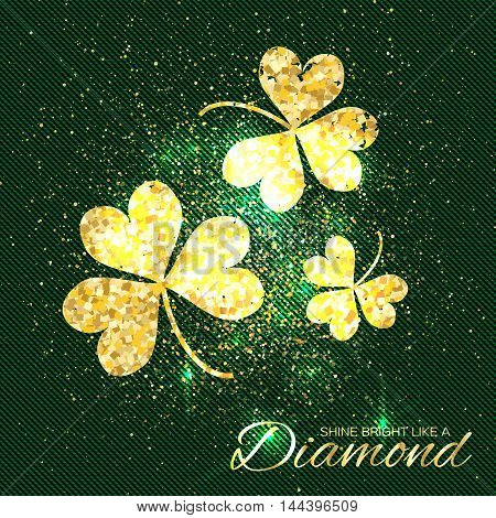 Gold sparkles clover on green background. Three shining glitter glamour flower. Greeting Card with Gold Textured Three Leaf Clover. Patrick Day concept for banner flyer. Vector design illustration.