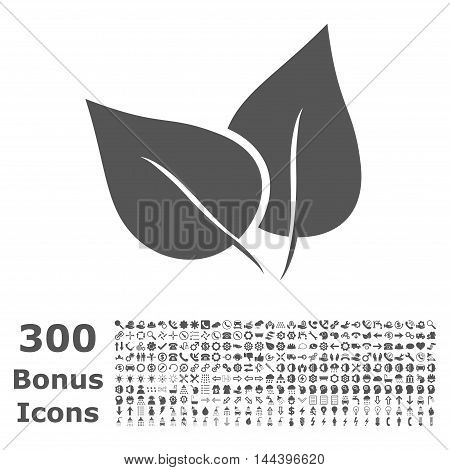 Flora Plant icon with 300 bonus icons. Vector illustration style is flat iconic symbols, gray color, white background.