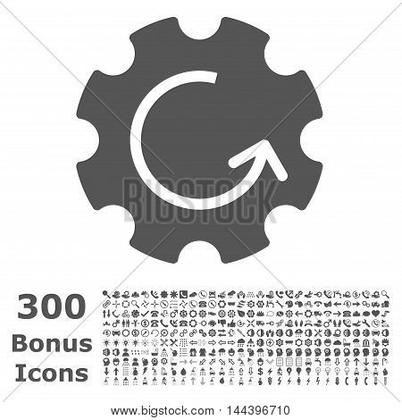 Gear Rotation icon with 300 bonus icons. Vector illustration style is flat iconic symbols, gray color, white background.