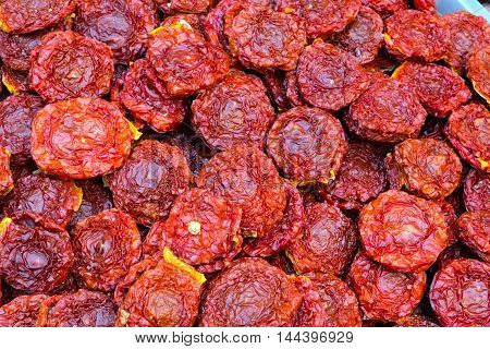 Dried tomatoes for sale at a market in Palermo, Sicily