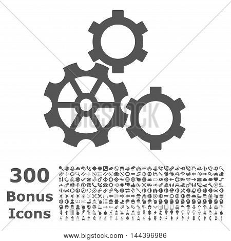 Gears icon with 300 bonus icons. Vector illustration style is flat iconic symbols, gray color, white background.