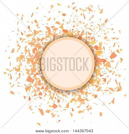 Orange Confetti Round Banner Isolated on White Background. Set of Particles.