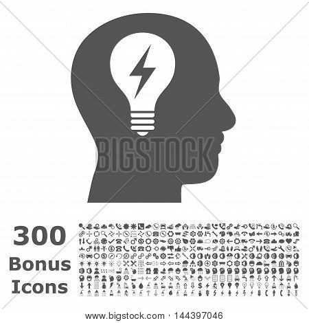 Head Bulb icon with 300 bonus icons. Vector illustration style is flat iconic symbols, gray color, white background.