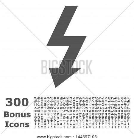 High Voltage icon with 300 bonus icons. Vector illustration style is flat iconic symbols, gray color, white background.