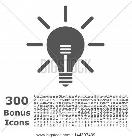 Light Bulb icon with 300 bonus icons. Vector illustration style is flat iconic symbols, gray color, white background.