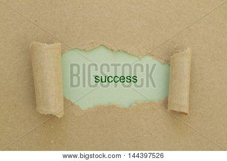 SUCCESS word written under torn paper .