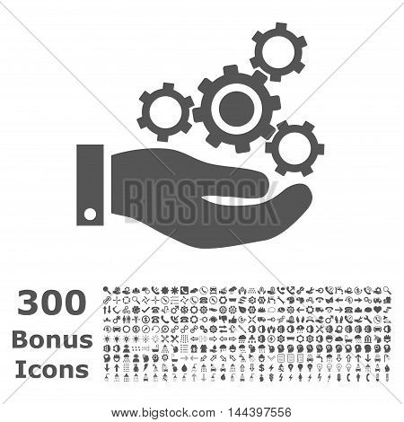 Mechanics Service icon with 300 bonus icons. Vector illustration style is flat iconic symbols, gray color, white background.