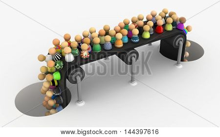 Crowd of small symbolic figures conveyor 3d illustration horizontal