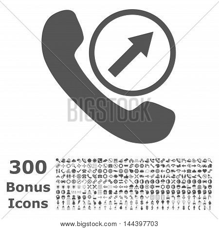 Outgoing Call icon with 300 bonus icons. Vector illustration style is flat iconic symbols, gray color, white background.