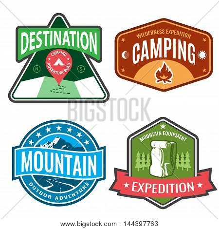 Set badges mountain expeditions and logo emblem adventure outdoors.