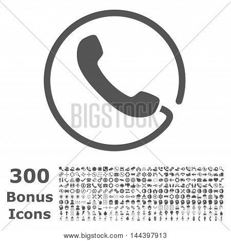 Phone icon with 300 bonus icons. Vector illustration style is flat iconic symbols, gray color, white background.