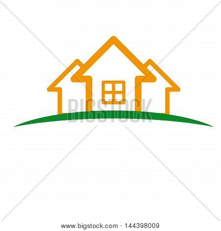 Logo in the form of houses on the green lawn.