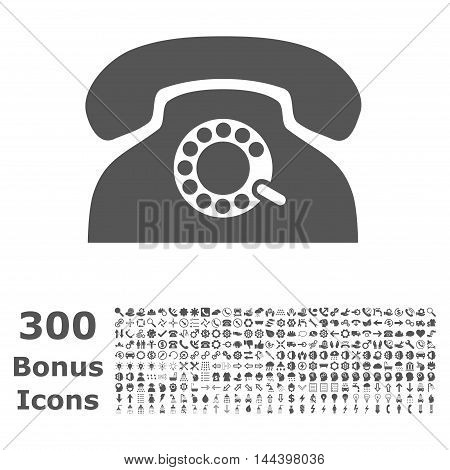 Pulse Phone icon with 300 bonus icons. Vector illustration style is flat iconic symbols, gray color, white background.