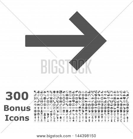Right Arrow icon with 300 bonus icons. Vector illustration style is flat iconic symbols, gray color, white background.