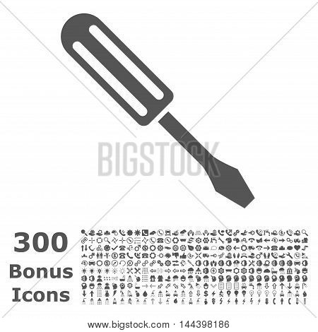Screwdriver icon with 300 bonus icons. Vector illustration style is flat iconic symbols, gray color, white background.