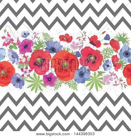 Beautiful Flower Seamless Pattern with Zigzag Stripes . Summer Fashion Background.  Ornament for Fabric, Wrapping, Wallpaper.