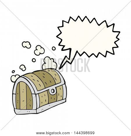 freehand drawn speech bubble cartoon treasure chest
