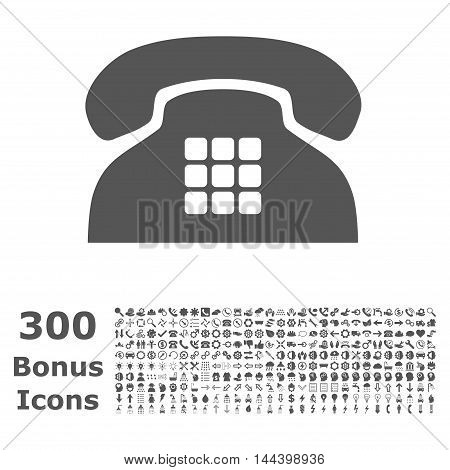 Tone Phone icon with 300 bonus icons. Vector illustration style is flat iconic symbols, gray color, white background.