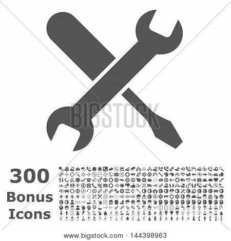 Tuning icon with 300 bonus icons. Vector illustration style is flat iconic symbols, gray color, white background.