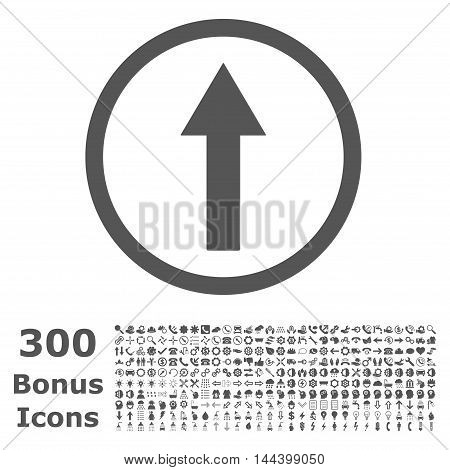 Up Rounded Arrow icon with 300 bonus icons. Vector illustration style is flat iconic symbols, gray color, white background.