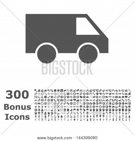 Van icon with 300 bonus icons. Vector illustration style is flat iconic symbols, gray color, white background.