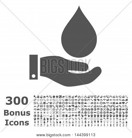 Water Service icon with 300 bonus icons. Vector illustration style is flat iconic symbols, gray color, white background.