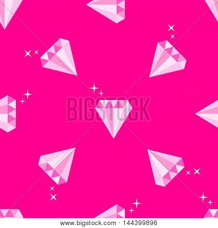 Diamonds with stars. Geometric seamless pattern on pink background. Flat style vector illustration