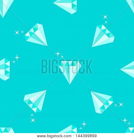 Diamonds with stars. Geometric seamless pattern on blue background. Flat style vector illustration