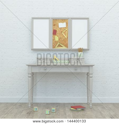 Working kids room interior with a classic table, chipboard, frames and brick wall. 3d rendering