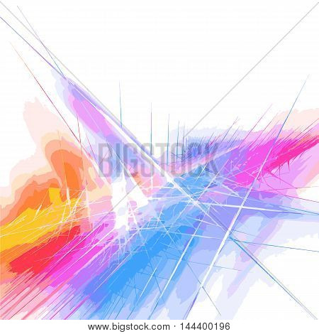 Interplay of abstract forms, colors and lights on the subject modern technologies, science, energy dynamism.