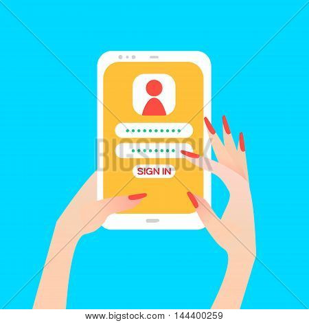 Hand holding smart phone in women's hand with sign in page on screen. Finger touch screen for banner web site. Colorful Flat style vector illustration
