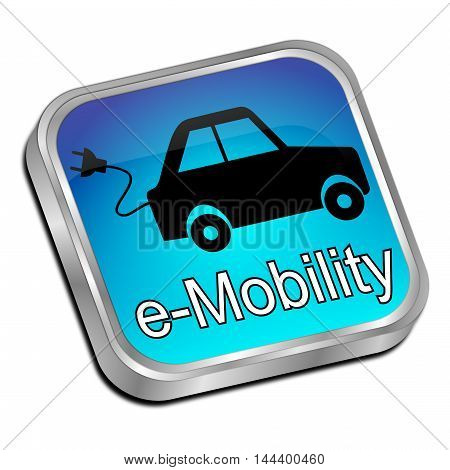 decorative blue e-Mobility Button - 3D illustration