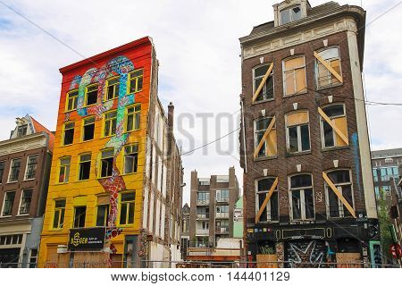 Amsterdam the Netherlands -October 03 2015: Original building art in historic city centre