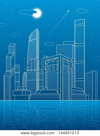 City on the water. Business center, architecture and urban illustration, neon town, white lines composition, skyscrapers and towers, vector design art