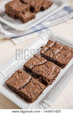 Home made chocolate brownies on a plate