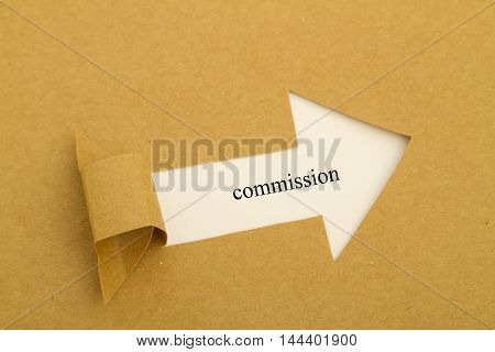Commission word written under torn paper .
