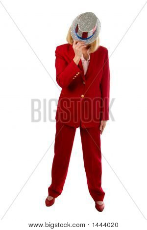 Patriotic Business Woman Hiding Her Face