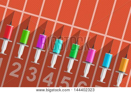 Syringes with colored solution inside are on start line of running track as symbol of using of doping during participation in sport competition. Dishonest sports and doping control