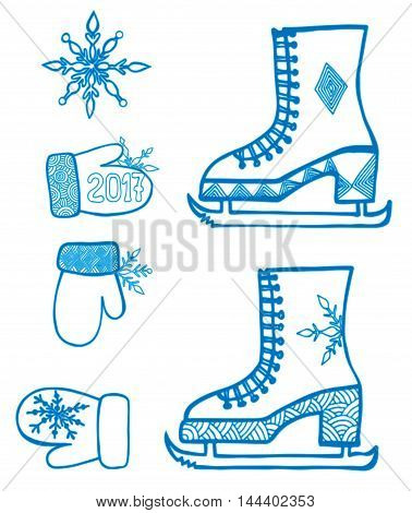 Winter element design with snowflake skates mitten isolated on the white background. Can be used for card invitation posters texture backgrounds placards banners.