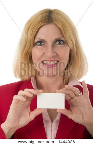 Professional Business Woman Holds Blank Business Card In Front