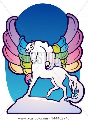 Fantasy winged horse with rainbow feathers, in Art Deco style.