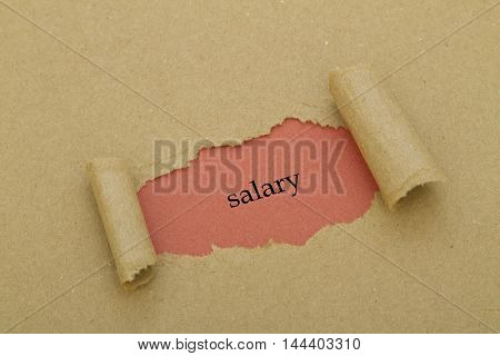 Salary word written under torn paper .