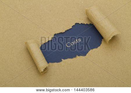 Costs word written under torn paper .
