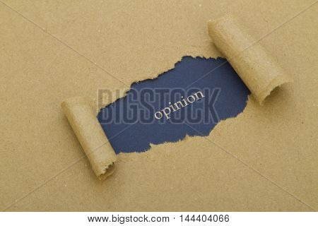 Opinion word written under brown torn paper