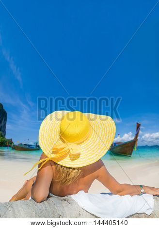 Woman on the tropical beach