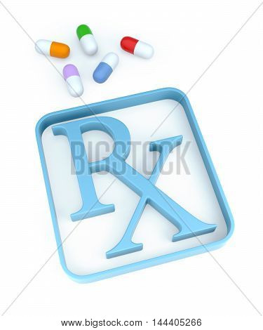 Capsules And Rx Symbol On White Background. 3D Rendering